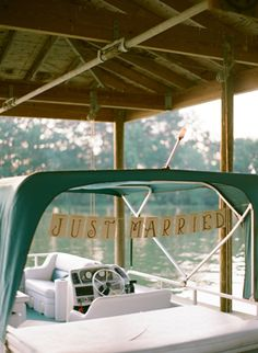 Lakeside wedding - leaving from the reception? Colorful Lakeside Wedding by Melissa Schollaert, Part 2 - Southern Weddings Magazine Boat Wedding, Lakeside Wedding, Nautical Wedding, Rustic Wedding, Dream Wedding, Lake Wedding Ideas, Wedding Cars, Wedding Places, Wedding Trends