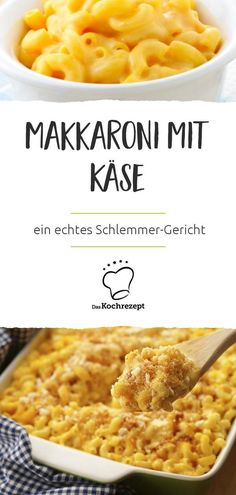 Käse in und auf den Nudeln – diese Makkaroni mit Käse gehen einfach immer u… Cheese in and on the noodles – these macaroni with cheese are always ready and are a real gourmet dish. And in just 30 minutes prepared. # The cooking recipe Cheese Recipes, Pasta Recipes, Crockpot Recipes, Dinner Recipes, Cooking Recipes, Chicken Recipes, One Pot Pasta, Macaroni Salad, Banana Bread Recipes