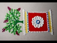 Very easy and simple rangoli for tulsi vivah by using spoon Easy Rangoli Designs Videos, Simple Rangoli Border Designs, Easy Rangoli Designs Diwali, Rangoli Designs Latest, Rangoli Designs Flower, Free Hand Rangoli Design, Small Rangoli Design, Rangoli Ideas, Rangoli Designs With Dots