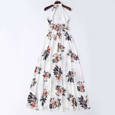 Bohemian Maxi Floral Open Back Dress White Maxi Dresses, Day Dresses, Cute Dresses, Casual Dresses, Fashion Dresses, Girls Dresses, Summer Dresses, Fashion 2018, Open Back Maxi Dress