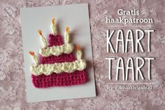 Free pattern of a crochet birthday cake. Fun to send on a postcard, but also works nice as a gift tag.