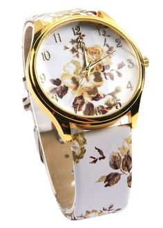 a36f10bc870 Women s Faux Leather Rose Flower Floral Watch Quartz Watches Dress New