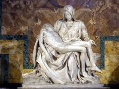 The La Pietà is a masterpiece of Renaissance sculpture by Michelangelo in St. Peter's Basilica in Vatican City. This famous work of art depicts the body of Jesus on the lap of his mother Mary after the Crucifixion. Miguel Angel, Michelangelo Pieta, Michelangelo Paintings, Visit Rome, La Pieta, Pieta Statue, Rome Attractions, St Peters Basilica, Mary And Jesus