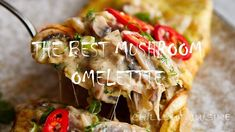 An omelette can hardly get any better than this homey, comforting mushroom omelette. Cheesy, mushroom-y and simply delicious. Ingredients: 1 yellow onion (medium, peeled and chopped) 2 cups thinly sliced cremini mushroo Creamy Mushroom Pasta, Mushroom Dish, Mushroom Recipes, How To Cook Mushrooms, How To Cook Eggs, Easy Cooking, Cooking Recipes, Baked Omelette, Mushrooms