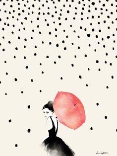 Bright Baby loves Polka Rain Art Print by Karen Hofstetter, via society6 illustration of girl with umbrella Illustrations #BrightBaby www.bright-baby.com