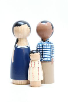 Personalized Custom Family Portrait of 3 // Anniversary Gifts Couple //  Unique Family Portrait // Wooden Peg Dolls via Etsy
