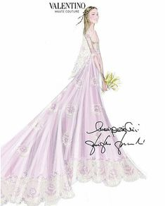 Sketch of Beatrice Borromeo's Valentino wedding dress