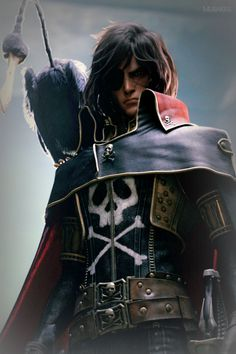 From Captain Harlock Space Pirate Space Pirate Captain Harlock, Captain Harlock Movie, Space Captain, Character Concept, Character Design, Cyberpunk, Pirate Movies, Robot Cartoon, Science Fiction