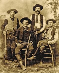 """Texas Rangers (Standing, from left) Robert """"Bob"""" Speaks and Jim Putman. (Seated, from left) Alonzo Van """"Lon"""" Oden and John R. Texas History, Us History, American History, Real Cowboys, Cowboys And Indians, Cowboy Pictures, Old Pictures, Western Art, Western Cowboy"""