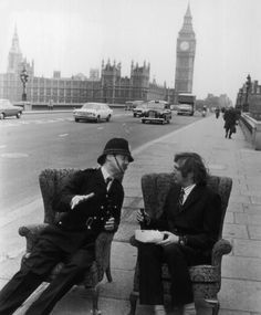 Nice tea, vicar: Graham Chapman, left, and Michael Palin on Westminster Bridge in 1974 Evening Standard/Getty Images British Humor, British Comedy, British History, British Men, Thrasher, Eric Idle, Terry Jones, Michael Palin, Westminster Bridge