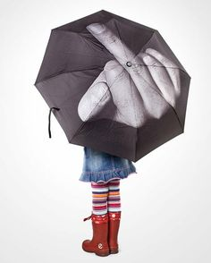 umbrella with the number one or middle finger funny
