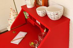 Painted Secretary in Red,Red,Red Fold Down Desk, Secretary Desks, Dressers, Consideration, Restore, Painted Furniture, Restoration, Cottage, Interior Design