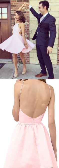 party dresses, short backless party dresses, pink homecoming dresses, elegant homecoming dresses