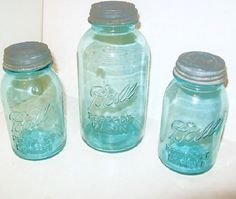 3 Blue Ball Canning Mason Jars w/ Zinc Milk Glass Lids by Avaricia
