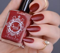 ~Cardinal Sin~ is a matte finish with subtle sparkle. Add a glossy topcoat to get a whole new look! Photo courtesy of Constantly Polished (IG).