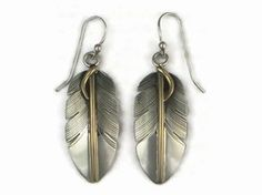 12k Gold & Sterling Silver Feather Earrings by Lena Platero, Navajo - 12k Gold & Sterling Silver Feather Pendant by Lena Platero, Navajo | Southwest Silver Gallery