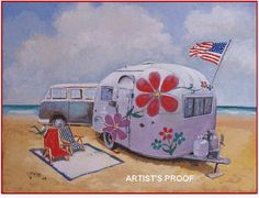 Great vintage camper art (many different works, available for purchase) by Paige Bridges Vintage Rv, Vintage Airstream, Vintage Caravans, Vintage Travel Trailers, Vintage Campers, Vintage Vans, Little Campers, Cool Campers, Happy Campers
