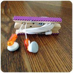 DIY: Clothespin Headphone Wrap