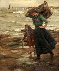 John McGhie (Scotland East Neuk Fisher Girls oil on canvas 67 x 63 cm Picking Wild Flowers, Love Bears All Things, Classical Art, Seascape Paintings, Various Artists, Fisher, Fine Art, History, Children