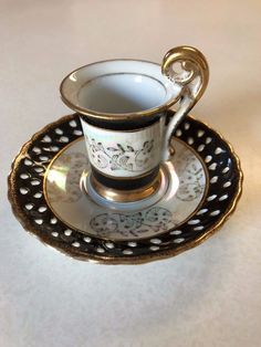 VINTAGE Demitasse Black/White/Gold Tea Cup and Saucer with cutout pattern plate | eBay