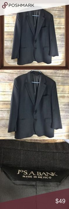 Jos.A.Bank Dark Gray Pin Stripe Wool Blazer EUC Dark gray pin stripe wool blazer. Size 46S. In excellent condition. 30 inches long. 23 inch sleeves. 22 inches arm pit to arm pit without stretching material Jos.A.Bank Suits & Blazers Sport Coats & Blazers