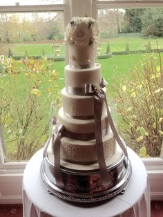 Ivory and grey with stenciled tiers