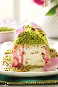 Triple Pistachio Kunafa Ice Cream - I dream of Lebanon - icecream Pistachio Butter, Pistachio Ice Cream, Frozen Desserts, Just Desserts, Dessert Recipes, Frozen Treats, Arabic Dessert, Arabic Food, Arabic Sweets