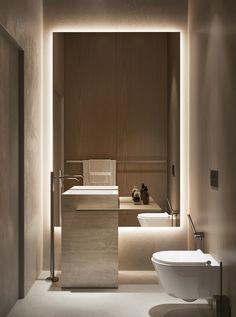 Sivak+Partners . on Behance Beige Bathroom, Bathroom Kids, Bathroom Layout, Bathroom Interior Design, Modern Bathroom, Mirror Bathroom, Modern Powder Rooms, Kids Living Rooms, Powder Room Design
