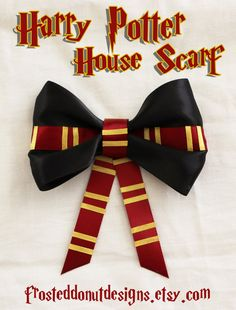 Harry Potter House Scarf Inspired Bow! Gryffindor Slytherin Hufflepuff Ravenclaw Scarves!