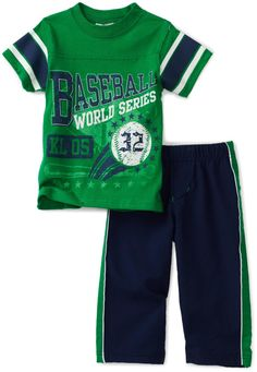 Little Rebels Baby-Boys Infant Baseball Knit Top And Woven Pant Set $21.00