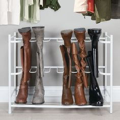 MDesign Metal Boot Storage And Organizer Rack, Holds 6 Pairs - Espresso Brown : Target Biker Boots, Riding Boots, Tall Boots, Shoe Boots, Boot Storage, Storage For Boots, Easy Storage, Storage Ideas, Boot Organization