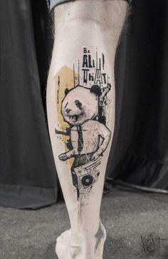 IG @koittattoo Graphic style Panda by KOit, Berlin. | Inked leg | Tattoo ideas | KOit Tattoo | Tattoo artist | Germany tattoo artists | Animal tattoo | Geometric tattoo | Photoshop tattoo | Berlin tattoo artist | Abstract Tattoo | tattoos for guys | Tattooed boy | Inked men | Abstract tattoo | Body art | Graphic style tattoo | Inspiration | Tattoo ideas | Cool tattoo design | Tattoos for men | Tats | inked | Illustration | Art | Body art | Tatouage | Tätowierung Tatuaggio Tatuaż