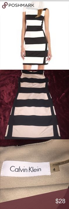 Calvin Klein mid length dress This is such a pretty dress.. this is a black and tan striped , body con dress from Calvin Klein.. this is a tight fitting, mid length dress... *note.. stock photo looks black and white, but it is actually a black and tan stripe.. great condition Calvin Klein Dresses Midi