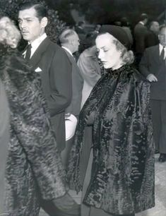 Another shot of devastated Clark Gable and Carole Lombard at Jean Harlow's funeral, June 9, 1937.