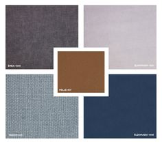 Leather: Pelle 407 Fabrics: Enea 1530 - Tricot 810 Velvet: Eldorado 1561 - 1556