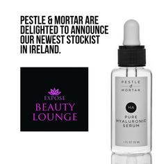 Expose Beauty Lounge located in Tralee Co. Kerry are proud stockists of Pestle & Mortar Hyaluronic Serum, Beauty Lounge, Perfume Bottles, Skin Care, Cosmetics, Pure Products, Beautiful, Beauty Products, Skincare Routine