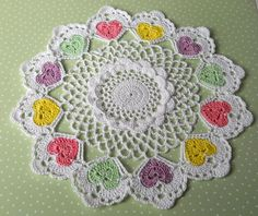 pastel crochet hearts
