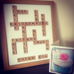 Bridesmaid gifts - handmade scrabble frame xx