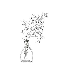 White Flowers Simple Glass Vase Bottle Patterned Illustration