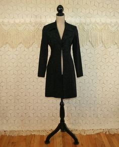 Vintage 90s Long Blazer Fitted Black Coat Ultra by MagpieandOtis