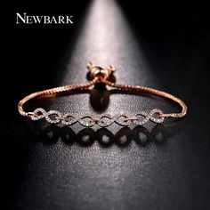 NEWBARK New Fashion Rose Gold Color Infinite Bracelet Delicate Simple Personalized Infinity 8 Symbol Chain Bracelets Girls Gifts #Affiliate