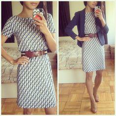 shift dress + belt + blazer