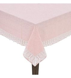 FABRIC TABLE COVER IN PINK COLOR W_LACE 90X90