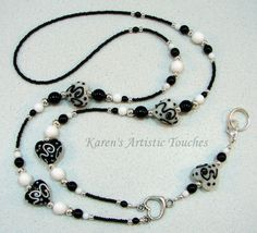 Karen's Artistic Touches Store - Black White Confetti Heart Beaded Lanyard ID Badge Holder, $27.99 (http://www.karensartistictouches.com/black-white-confetti-heart-beaded-lanyard-id-badge-holder/)