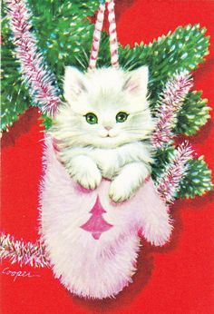 vintage Marjorie Cooper Christmas kitten in pink mitten -- Soo cuuute! Cat Christmas Cards, Christmas Kitten, Christmas Graphics, Christmas Animals, Xmas Cards, Christmas Greetings, Vintage Christmas Images, Retro Christmas, Vintage Holiday