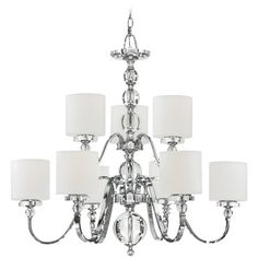Quoizel Lighting Modern Chandelier with White Glass in Polished Chrome Finish | DW5009C | Destination Lighting