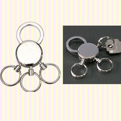 Shiny silver round multi-key ring 유광 멀티 열쇠고리
