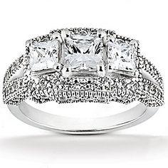 F VS1 diamond three stone engagement ring by diamondsfromnewyork
