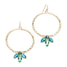 $30.00 Isabelle Earrings  Take a walk on the softer side with the Isabelle Earrings. Crafted from hammered gold plate in a matte finish and enhanced with green tourmaline and blue topaz, these earrings are both elegant and glamorous.