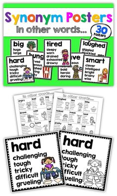Posters -USA and UK/Australian spelling synonym posters, shades of meaning, synonyms- spice up your kids' writingsynonym posters, shades of meaning, synonyms- spice up your kids' writing 4th Grade Writing, Teaching Writing, Kids Writing, Teaching English, Writing Help, Vocabulary Exercises, Vocabulary Activities, Reading Activities, Shades Of Meaning
